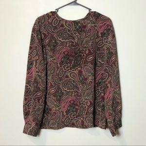 Pendleton vintage paisley blouse top size 18W